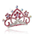 Hair Accessories Crystal Rhinestone Alloy Crown Bride Hair Pin Clip Combs - Pink