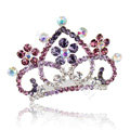 Hair Accessories Crystal Rhinestone Alloy Crown Bride Hair Pin Clip Combs - Purple