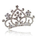 Hair Accessories Crystal Rhinestone Alloy Crown Bride Hair Pin Clip Combs - White