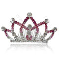 Hair Accessories Crystal Rhinestone Alloy Crown Hair Pin Clip Combs - Pink