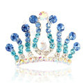 Hair Accessories Crystal Rhinestone Alloy Crown Hair Pin Combs Clip - Blue