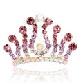 Hair Accessories Crystal Rhinestone Alloy Crown Hair Pin Combs Clip - Purple