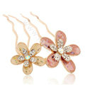 Hair Accessories Crystal Rhinestone Alloy Flower Hair Pin Clip Fork Combs - Pink