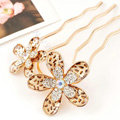 Hair Accessories Crystal Rhinestone Alloy Leopard Flower Hair Pin Clip Fork Combs - Brown