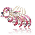 Hair Accessories Crystal Rhinestone Alloy Peacock Hair Pin Clip Combs - Pink