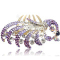 Hair Accessories Crystal Rhinestone Alloy Peacock Hair Pin Clip Combs - Purple