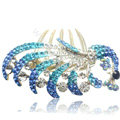 Hair Accessories Crystal Rhinestone Alloy Peacock Hair Pin Clip Combs - Sky blue