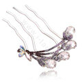 Hair Accessories Crystal Rhinestone Butterfly Alloy Hair Pin Clip Fork Combs - Purple