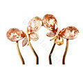 Hair Accessories Crystal Rhinestone Butterfly Hair Pin Clip Fork Combs - Champagne