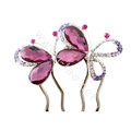 Hair Accessories Crystal Rhinestone Butterfly Hair Pin Clip Fork Combs - Purple