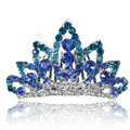 Hair Accessories Crystal Rhinestone Crown Bride Hair Pin Clip Combs - Blue