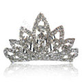 Hair Accessories Crystal Rhinestone Crown Bride Hair Pin Clip Combs - White