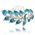 Hair Accessories Crystal Rhinestone Flower Alloy Bride Hair Clip Combs - Blue