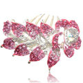 Hair Accessories Crystal Rhinestone Flower Alloy Bride Hair Clip Combs - Pink