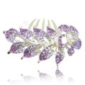 Hair Accessories Crystal Rhinestone Flower Alloy Bride Hair Clip Combs - Puple