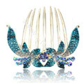 Hair Accessories Crystal Rhinestone Flower Alloy Hair Clip Combs - Blue
