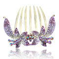 Hair Accessories Crystal Rhinestone Flower Alloy Hair Clip Combs - Puple