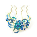 Hair Accessories Crystal Rhinestone Flower Alloy Hair Pin Clip Comb - Blue