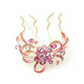 Hair Accessories Crystal Rhinestone Flower Alloy Hair Pin Clip Comb - Pink
