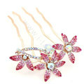 Hair Accessories Crystal Rhinestone Flower Hair Pin Clip Fork Combs - Pink