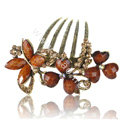 Hair Accessories Crystal Rhinestone Retro Alloy Flowers Hair Clip Combs - Coffee