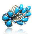 Hair Accessories Crystal Rhinestone Retro Flower Alloy Hair Clip Combs - Blue
