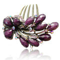 Hair Accessories Crystal Rhinestone Retro Flower Alloy Hair Clip Combs - Puple