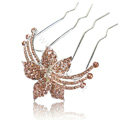 Hair Accessories Flower Alloy Crystal Rhinestone Hair Pin Clip Fork Combs - Champagne