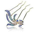Hair Accessories Goldfish Alloy Crystal Rhinestone Hair Pin Clip Fork Combs - Blue