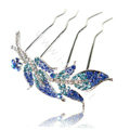 Hair Accessories Leaf Alloy Crystal Rhinestone Hair Pin Clip Fork Combs - Blue