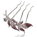 Hair Accessories Leaf Alloy Crystal Rhinestone Hair Pin Clip Fork Combs - Purple
