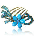 Hair Accessories Retro Flower Rhinestone Crystal Alloy Hair Combs Clip - Blue
