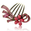 Hair Accessories Retro Flower Rhinestone Crystal Alloy Hair Combs Clip - Rose