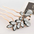 Hair Accessories Rhinestone Crystal Alloy Butterfly Hair Pin Clip Fork Combs - Gray