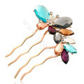 Hair Accessories Rhinestone Crystal Alloy Butterfly Hair Pin Clip Fork Combs - Multicolor