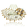 Hair Accessories Rhinestone Crystal Alloy Peacock Hair Pin Clip Combs - Coffee