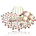Hair Accessories Rhinestone Crystal Alloy Peacock Hair Pin Clip Combs - Pink