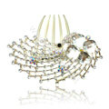 Hair Accessories Rhinestone Crystal Alloy Peacock Hair Pin Clip Combs - White