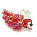 Hair Accessories Rhinestone Crystal Beads Peacock Alloy Hair Clip Combs - Red