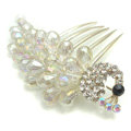 Hair Accessories Rhinestone Crystal Beads Peacock Alloy Hair Clip Combs - White