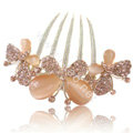 Hair Accessories Rhinestone Crystal Butterfly Alloy Hair Clip Combs - Champagne