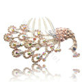Hair Accessories Rhinestone Crystal Peacock Alloy Hair Combs Clip - Champagne