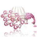 Hair Accessories Rhinestone Crystal Peacock Alloy Hair Combs Clip - Pink
