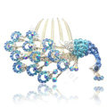 Hair Accessories Rhinestone Crystal Peacock Alloy Hair Combs Clip - Sky blue