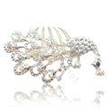Hair Accessories Rhinestone Crystal Peacock Alloy Hair Combs Clip - White
