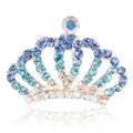 Mini Alloy Crown Hair Accessories Crystal Rhinestone Hair Pin Clip Combs - Blue
