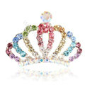 Mini Alloy Crown Hair Accessories Crystal Rhinestone Hair Pin Clip Combs - Multicolor
