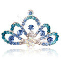 Mini Crown Alloy Hair Accessories Rhinestone Crystal Hair Pin Clip Combs - Blue