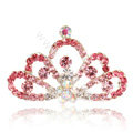 Mini Crown Alloy Hair Accessories Rhinestone Crystal Hair Pin Clip Combs - Pink