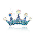 Mini Crown Hair Accessories Alloy Crystal Rhinestone Hair Pin Clip Combs - Blue